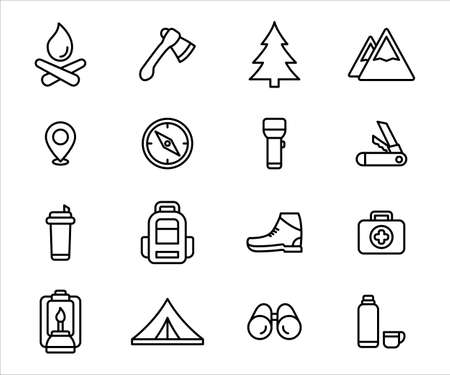 Simple Set of camping and hiking gear vector