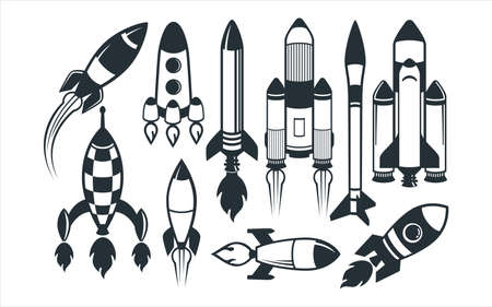 assorted cute space rocket vector graphic design template set for sticker, decoration, cutting and print file