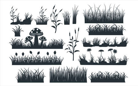 assorted grass and grass field vector graphic design template set for sticker, decoration, cutting and print file