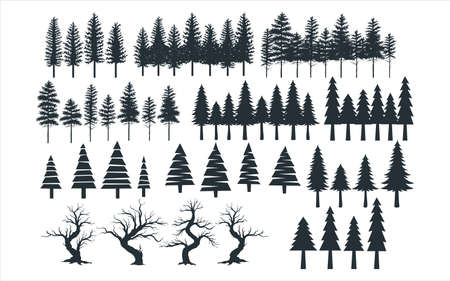 assorted pine tree vector graphic design template set for sticker, decoration, cutting and print file Ilustração