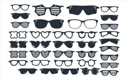assorted shape glasses vector graphic design template set for sticker, decoration, cutting and print file