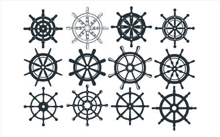 Assorted ship steering wheel vector