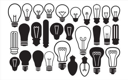 Assorted light bulb vector