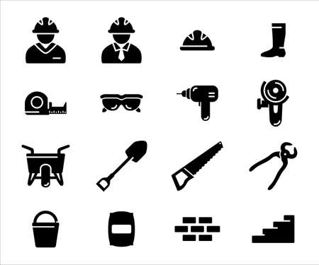 Simple Set of construction job and worker Related Vector icon user interface graphic design. Contains such Icons as construction worker avatar, measure tape, goggle, driller, cutter machine, barrow