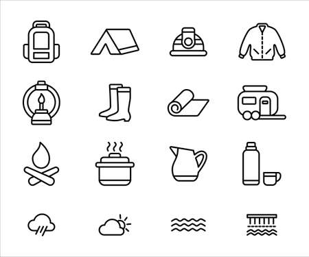 Simple Set of camping gear Related Vector icon user interface graphic design. Contains such Icons as backpack, tent, helmet, jacket, boot, petroleum lamp, mat, trailer, thermos, weather, river Çizim