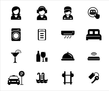 Simple Set of hotel service and facility Related Vector icon user interface graphic design. Contains such Icons as receptionist, customer service, bellboy, bed, cocktail, room key, cocktail, gym, pool