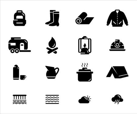 Simple Set of camping gear Related Vector icon user interface graphic design. Contains such Icons as backpack, tent, helmet, jacket, boot, petroleum lamp, mat, trailer,   weather, river Çizim