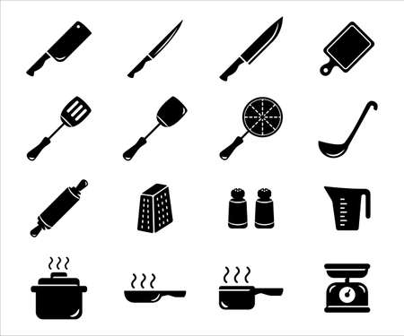 Simple Set of kitchen utensil Related Vector icon user interface graphic design. Contains such Icons as knife, cleaver, chopping board, spatula, fish turner, cheese grater, pan, steamer, measure jug