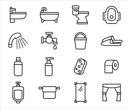 Simple Set of bath room and toilet Related Vector icon user interface graphic design. Contains such Icons as bathroom, toilet, bathtub, wc, shower, faucet, sink, washtub, urinating, toilet paper