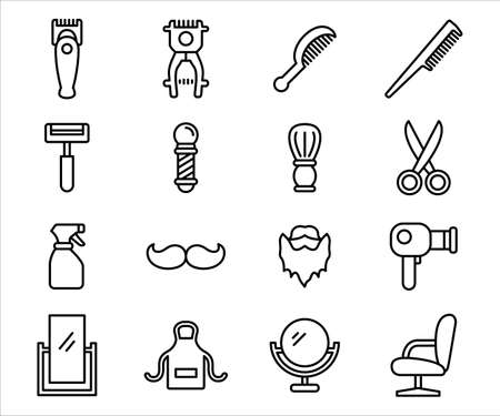 Simple Set of barbershop and haircut Related Vector icon user interface graphic design. Contains such Icons as barber pole, scissor, beard, apron, mirror, hairdryer, mustache, razor, sprayer, comb,