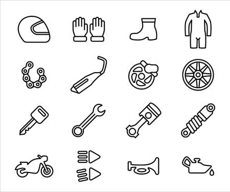 Simple Set of motorcycle workshop Related Vector icon user interface graphic design. Contains such Icons as helmet, glove, shoe, racing suit, chain, exhaust, piston, suspension, shock breaker, brake