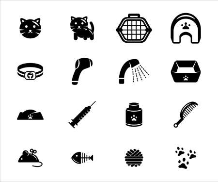 Simple Set of cat veterinary Related Vector icon user interface graphic design. Contains such Icons as cat face, cat avatar, cage, house, collar, shower, thermometer, food box, syringe, vitamin, yarn