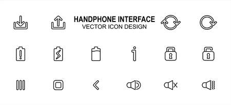 Simple Set of phone user interface Related lineal style Vector icon user interface graphic design. Contains such Icons as download, upload, rotation, battery indicator, lock, unlock, menu, speaker