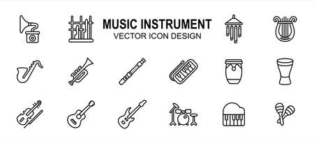 Simple Set of music instrument Related lineal style Vector icon user interface graphic design. Contains such Icons as angklung, harp, guitar, saxophone, trumpet, pianica, maracas, violin, drum, piano Ilustração