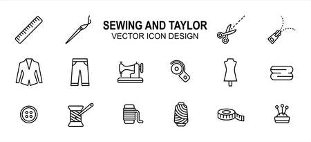Simple Set of sewing and taylor Related lineal style Vector icon user interface graphic design. Contains such Icons as sewing machine, scissor, tuxedo, pant, disc cutter, dummy, button, measure tape