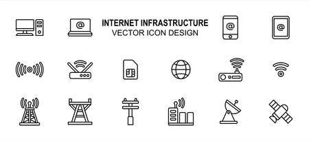 Simple Set of internet infrastructure Related lineal style Vector icon user interface graphic design. Contains such Icons as computer desktop, laptop, mobile phone, router, modem, transmitter tower Çizim