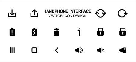 Simple Set of phone user interface Related style Vector icon user interface graphic design. Contains such Icons as download, upload, rotation, battery indicator, lock, unlock, menu, back, speaker
