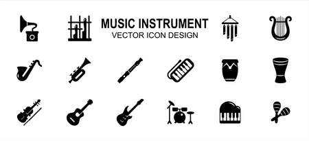 Simple Set of music instrument Related style Vector icon user interface graphic design. Contains such Icons as angklung, harp, guitar, saxophone, trumpet, pianica, maracas, violin, drum, piano