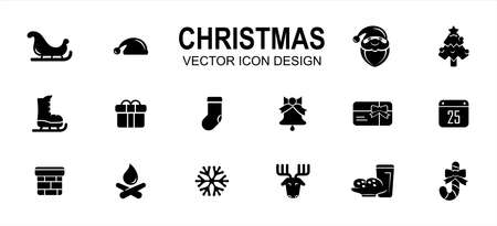Simple Set of christmas shop Related style Vector icon user interface graphic design. Contains such Icons as sled, santa hat, santa clause, ski shoes, gift box, sock, chimney, deer, snowflake Çizim