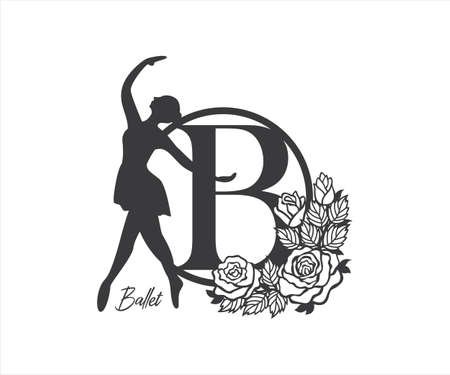 ballerina dancer monogram with rose floral decorated design for paper craft cutting, sticker, sublimation, vinyl cutting machine and art illustration Çizim