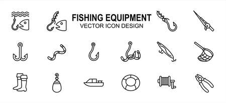 Simple Set of fishing fishermen Related lineal style Vector icon user interface graphic design. Contains such Icons as fish, fish hook knot, fishing rod, reel, double hook, floater, plier, net, boat Çizim