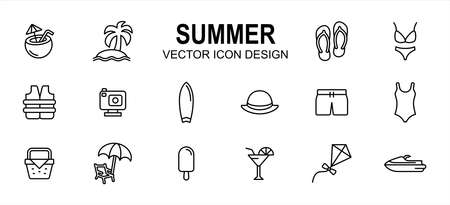 Simple Set of summer beach shop Related lineal style Vector icon user interface graphic design. Contain such Icons as coconut drink, beach, slipper, sandal, bikini, swimsuit, surf board, picnic basket Çizim