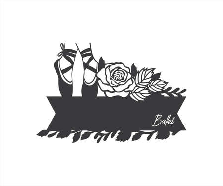 ballerina dancer leg with rose floral decorated design for name tag board, paper craft cutting, sticker, sublimation, vinyl cutting machine and art illustration