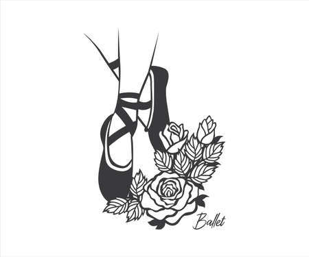 ballerina dancer legs with rose floral decorated design for paper craft cutting, sticker, sublimation, vinyl cutting machine and art illustration