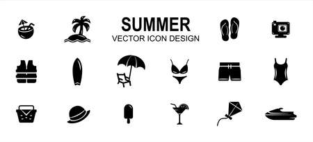 Simple Set of summer beach shop Related style Vector icon user interface graphic design. Contain such Icons as coconut drink, beach, slipper, sandal, bikini, swimsuit, surf board, picnic basket Çizim