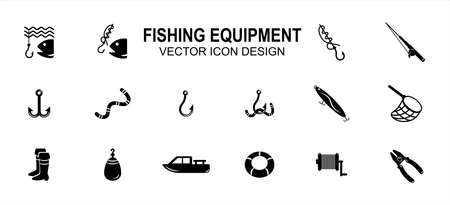 Simple Set of fishing fishermen Related style Vector icon user interface graphic design. Contains such Icons as fish, fish hook knot, fishing rod, reel, double hook, floater, plier, net, boat Çizim