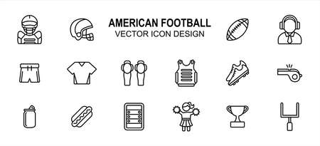 Simple Set of american football Related lineal style Vector icon user interface graphic design. Contains such Icons as body armor, helmet, commentator, uniform, leg pad, shoe, whistle and more