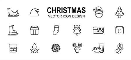 Simple Set of christmas shop Related lineal style Vector icon user interface graphic design. Contains such Icons as sled, santa hat, santa clause, ski shoes, gift box, sock, chimney, deer, snowflake