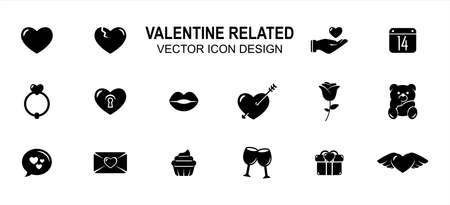 Simple Set of valentine love wedding Related style Vector icon user interface graphic design. Contains such Icons as love, heart, broken heart, give, calendar, wedding ring, heart lock, lip, cupid Stok Fotoğraf - 162749455