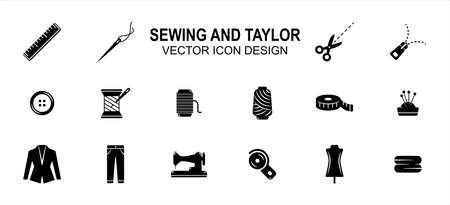 Simple Set of sewing and taylor Related style Vector icon user interface graphic design. Contains such Icons as sewing machine, scissor, tuxedo, pant, disc cutter, dummy, button, measure tape