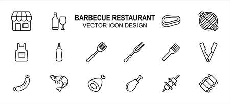 Simple Set of barbecue restaurant service Related flat Vector icon user interface graphic design.