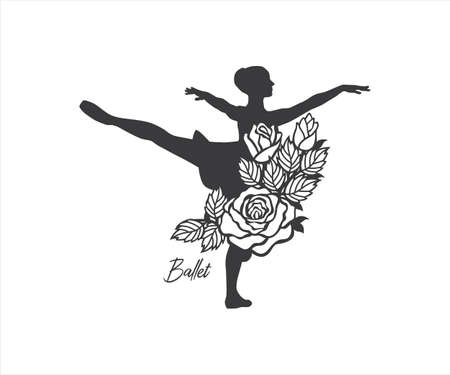 ballerina dancer with rose floral decorated design for paper craft cutting, sticker, sublimation, vinyl cutting machine and art illustration