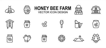 Simple Set of honey bee farm Vector icon user interface graphic design. Contains such Icons as honey nest, farmer, barn, honey comb, beehive, smoker, honey pot, honey jar, glove, flower, woods