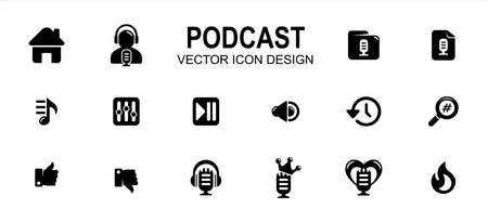Simple Set of podcast streaming application Vector icon user interface graphic design. Contains such Icons as home, speaker, host, folder, category, new, play list, equalizer, play pause, favorite 矢量图像