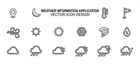 Simple Set of weather prediction information Vector icon user interface graphic design. Contains such Icons as place, moon, temperature, wind speed, windy, sunny, snowy, storm, cloudy, rainy, humidity 版權商用圖片 - 163334950