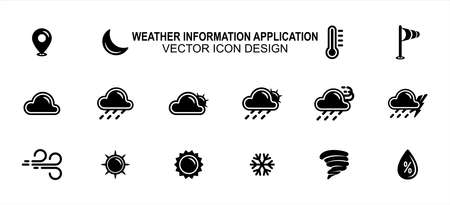Simple Set of weather prediction information Vector icon user interface graphic design. Contains such Icons as place, moon, temperature, wind speed, windy, sunny, snowy, storm, cloudy, rainy, humidity