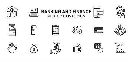 Simple Set of bank and finance Vector icon user interface graphic design. Contains such Icons as bank office, receipt, credit card, e-money, customer service, currency, exchange, deal, contract