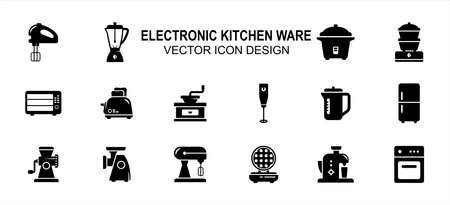Simple Set of electric kitchenware and cooking Vector icon user interface graphic design. Contains such Icons as hand mixer, juicer, rice cooker, coffee grinder, meat mincer, refrigerator, oven