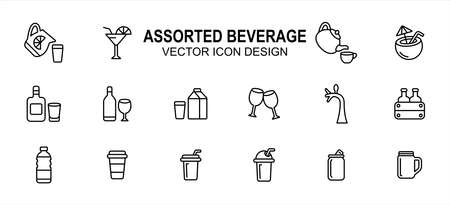 Simple Set of assorted beverage drink Vector icon user interface graphic design. Contains such Icons as lemonade, cocktail, tea, tea pot, coconut, whiskey, wine, milk, beer, juice, coffee, paper cup