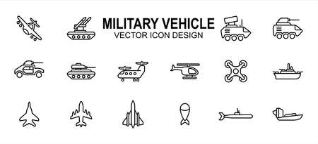 Simple Set of military armed vehicle Vector icon user interface graphic design. Contains such Icons as fighter jet, rocket launcher, antitank, tank, helicopter, drone, jet carrier ship, submarine