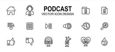 Simple Set of podcast streaming application Vector icon user interface graphic design. Contains such Icons as home, speaker, host, folder, category, new, play list, equalizer, play pause, favorite Çizim