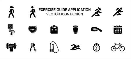 Simple Set of exercise sport tracker trainer Vector icon user interface graphic design. Contains such Icons as blood pressure monitor, heart beat, running, walking, scheduling, swimming, bicycling