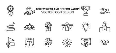 Simple Set of achievement and determination Related lineal Vector icon user interface graphic design. Contains such Icons as effort, goal, trophy, finish line, podium, certificate and more 向量圖像