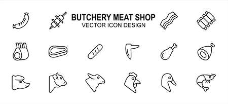 Simple Set of butchery meat shop Related Vector icon user interface graphic design. Contains such Icons as sausage, satay, bacon, ribs, beef, drumstick, chicken, lamb, duck, shrimp and more