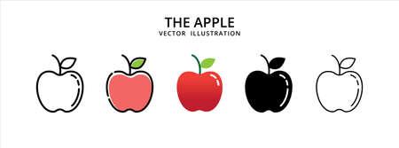 various apple fruit vector logo illustration design template set Иллюстрация