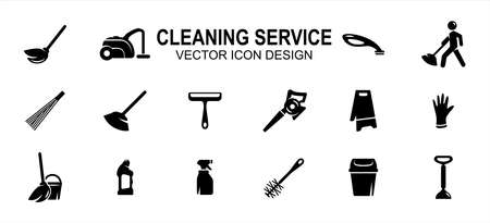 Simple Set of cleaning and maintenance service Related Vector icon user interface graphic design. Contains such Icons as broom, mop, wiper, blower, wet sign, glove, sprayer, trash bin 向量圖像